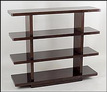 BARBARA BARRY MAHOGANY SHELVING UNIT IN THE JAVA FINISH.