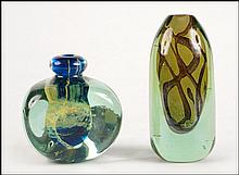 TWO MALTESE ART GLASS VASES.
