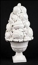 ITALIAN WHITE PORCELAIN TOPIARY SCULPTURE.