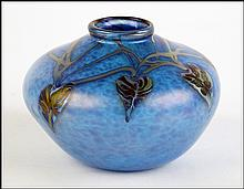 GEORGE MACHART ART GLASS BOULE VASE.