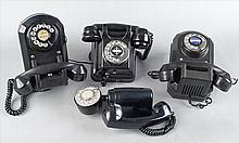 THREE BAKELITE WALL MOUNT ROTARY TELEPHONES.