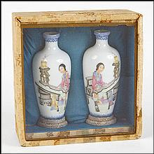 SET OF TWO CHINESE HAND PAINTED EGGSHELL PORCELAIN VASES.