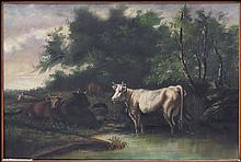 ARTIST UNKNOWN (EARLY 20TH CENTURY) COWS AT THE STREAM.