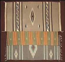 THREE NAVAJO RUGS.