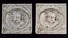 PAIR OF GLAZED CERAMIC WALL PLAQUES.