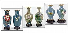 THREE PAIRS OF CHINESE CLOISONNE ENAMEL VASES.