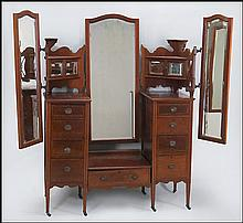 MULTI-MIRRORED MAHOGANY VANITY TABLE.