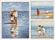 ARTIST UNKNOWN (20TH CENTURY) TWO BEACH SCENES.