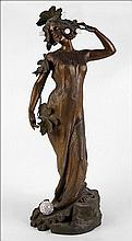 AFTER LUCIEN CHARLES EDOUARD ALLIOT (FRENCH, 1877-1967) PATINATED BRONZE ART NOUVEAU STYLE FIGURAL LAMP.