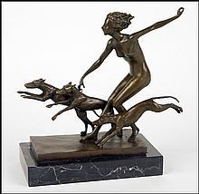 PATINATED BRONZE FIGURE OF DIANA, GODDESS OF THE HUNT.