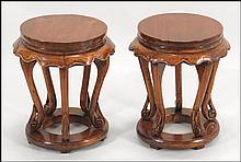 PAIR OF THAI CARVED WOOD STOOLS.