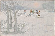 ARTIST UNKNOWN (20TH CENTURY) CROSS COUNTRY SKIERS.