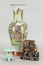 GILT AND PAINTED PORCELAIN VASE.
