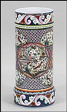 PORTUGUESE PAINTED CERAMIC UMBRELLA STAND.
