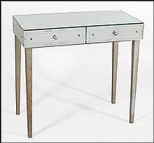 TWO-DRAWER MIRRORED VANITY TABLE.