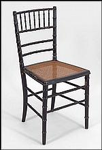 BLACK PAINTED WOOD BALLROOM CHAIR.