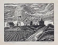 RICHARD BERGEN (AMERICAN, 20TH CENTURY) KANSAS FARM.