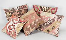 GROUP OF KILIM UPHOLSTERED PILLOWS.