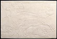 DECORATIVE RELIEF PANEL DEPICTING A CLASSICAL CHARIOTEER SCENE.