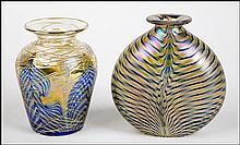 TWO CORREIA ART GLASS VASES.