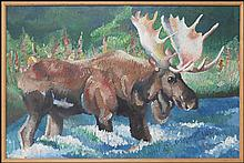 ARTIST UNKNOWN (20TH CENTURY) MOOSE CROSSING.