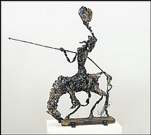 A CONTEMPORARY MIXED MEDIA COMPOSITION DEPICTING DON QUIXOTE.