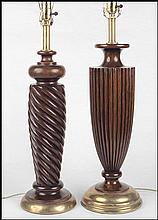 TWO ROBERT LIGHTON TEAK TABLE LAMPS.