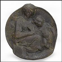 PAINTED PLASTER CAST MEDALLION DEPICTING THE MADONNA AND CHILD.