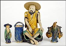 GROUP OF THREE SANCAI GLAZED POTTERY FIGURES.