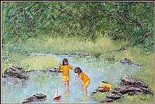 ARTIST UNKNOWN (20TH CENTURY) CHILDREN PLAYING IN A STREAM.