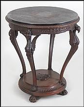 CARVED MAHOGANY PHOENIX FORM CENTER TABLE.