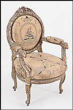 AN ITALIAN 19TH CENTURY POLTRONCINA OPEN ARMCHAIR.