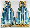 A PAIR OF ART DECO PAINTED WOOD PANELS.