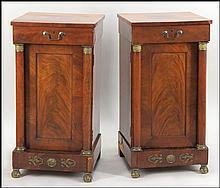A PAIR OF FRENCH EMPIRE MAHOGANY CELLARETTES.