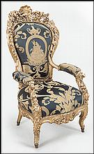 AN ITALIAN 19TH CENTURY GILTWOOD OPEN ARMCHAIR.