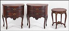PAIR OF SCHOLLE'S CHICAGO MAHOGANY TWO-DRAWER DEMI-LUNE TABLES.