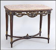 FRENCH PARCEL GILT WALNUT MARBLE TOP CENTER TABLE.
