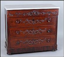 MARBLE TOP MAHOGANY CHEST OF DRAWERS.