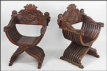 PAIR OF CARVED WOOD SAVONAROLA CHAIRS.