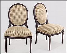 SET OF SIX LOUIS XVI STYLE UPHOLSTERED SIDE CHAIRS.