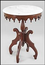 EASTLAKE STYLE MARBLE TOP OCCASSIONAL TABLE.