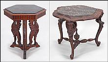 CARVED MAHOGANY HEXAGONAL SIDE TABLE.