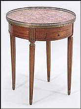 LOUIS XVI STYLE ROUND MARBLE TOP TABLE.