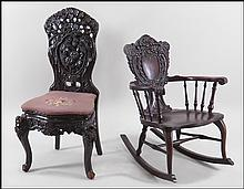 CARVED MAHOGANY SIDECHAIR.