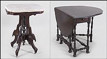 CARVED WOOD MARBLE TOP OCCASIONAL TABLE.