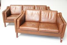 3- og 2-personers sofa# Brunt skind