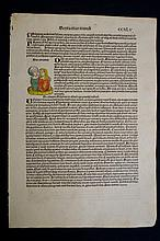 1493 Double page from Nuremberg Chronicle with 10 hand coloured prints