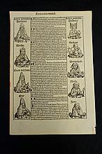1493 Single Page From Nuremberg Chronicle with 17 illustrations