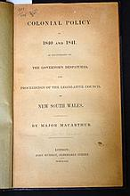 1841 Macarthur Colonial Policy