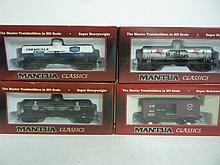 MODEL TRAINS: DOME TANKS AND FREIGHT CAR - (1) WOODEN VINTAGE FREIGHT CAR S.P. 1860 BOX CAR, (1) 40' SINGLE DOME TANK SHERWIN WILLIAMS, (1) 40' SINGLE DOME TANK UNION CARBIDE, (1) 40' SINGLE DOME TANK MOBIL W/ PEGASUS. ALL BY MANTUA CLASSICS, BRAND